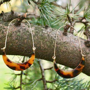 Anthro Leopard Acetate Gold Crescent Hoop Earrings